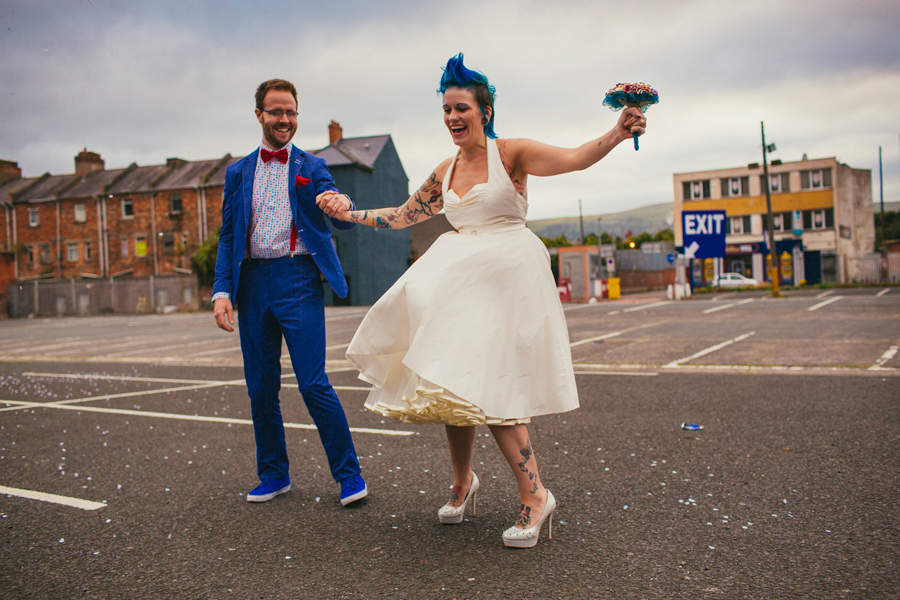 Alternative Wedding Photographer Northern Ireland, dancing in a Belfast Car Park.