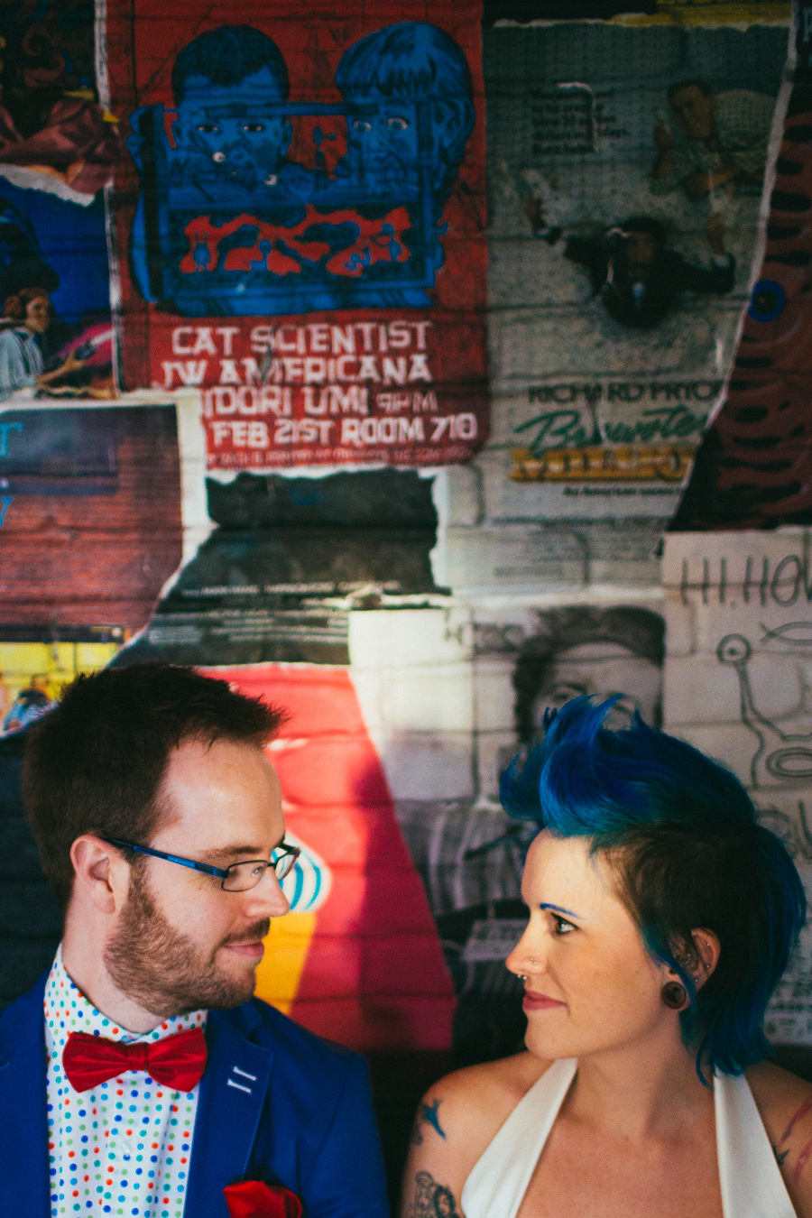 Alternative Wedding Photographer Northern Ireland, eccentric bride with blue hair and geeky groom, the Hudson bar, Gresham street, Belfast