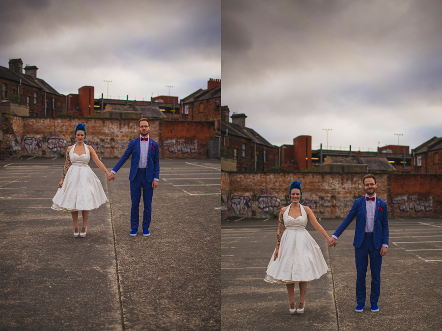 Alternative Wedding Photographer Northern Ireland, quirky bride and geeky groom holding hands, car park, smithfield, Belfast
