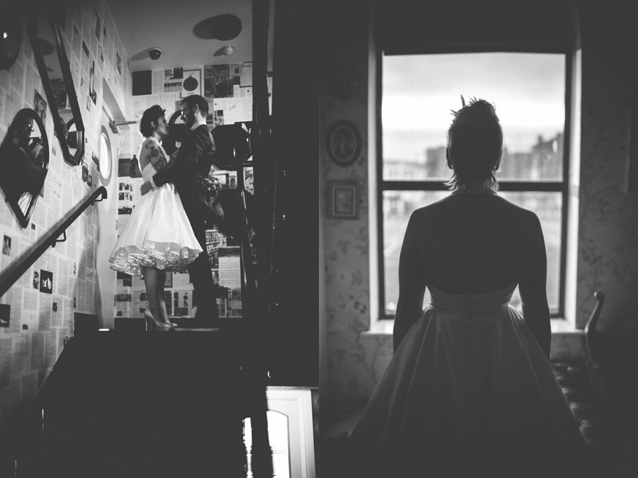 Alternative Wedding Photographer Northern Ireland, bride looking out of window, black and white, the Hudson Bar, Belfast
