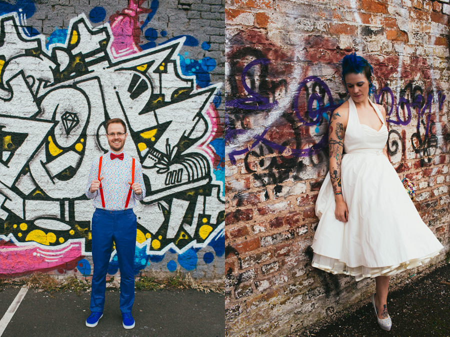 Alternative Wedding Photography Northern Ireland, bride and groom beside graffiti wall, Belfast .