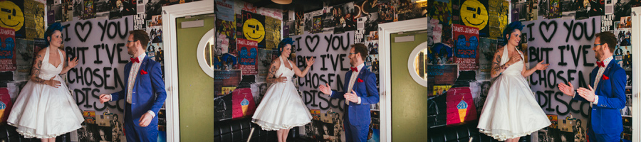 "Alternative Wedding Photographer Northern Ireland, rockstar bride and groom dancing like robots, ""I love you but I've chosen disco"" graffiti, the Hudson Bar, Belfast"