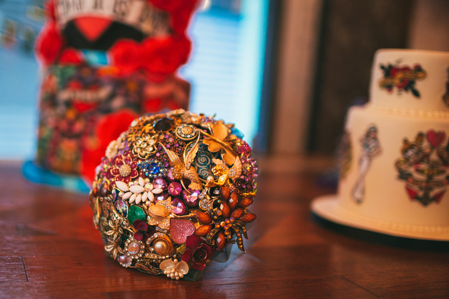 Alternative Wedding Photographer Northern Ireland, brooch bouquets by Aurora.