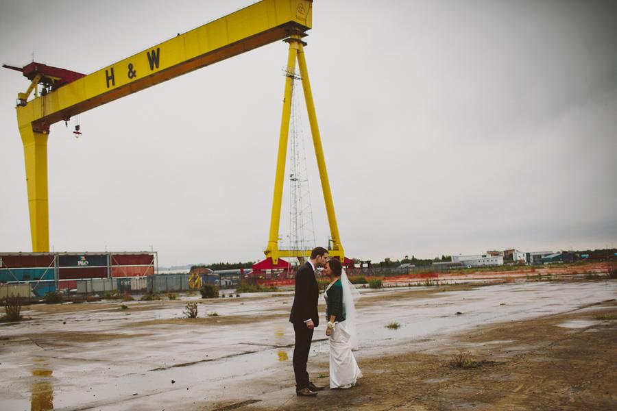 Alternative Wedding Photography Northern Ireland, Harland and Wolff Cranes, Titanic Quarter, Belfast , N.Ireland.