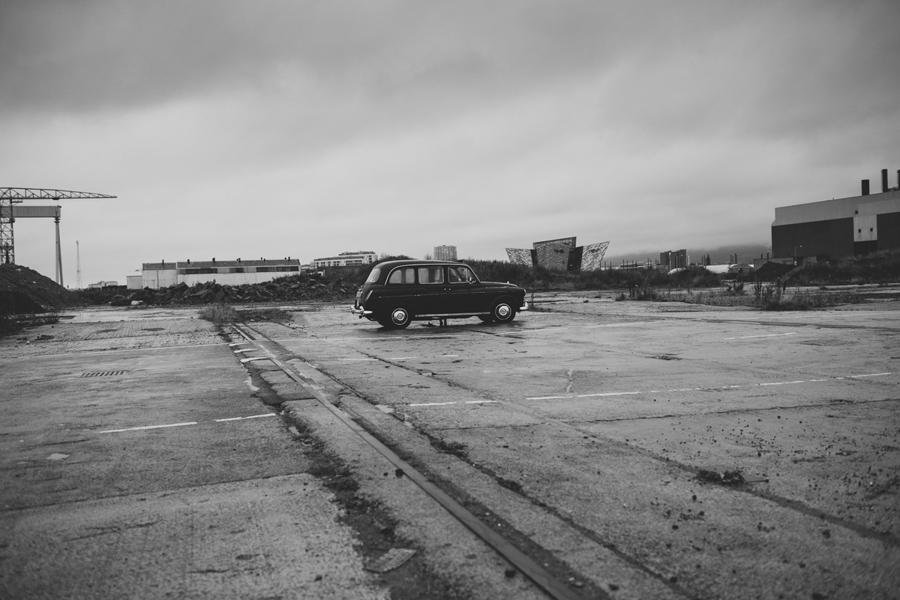 Alternative Wedding Photographer Northern Ireland, black taxi cab, Titanic Quarter, Belfast