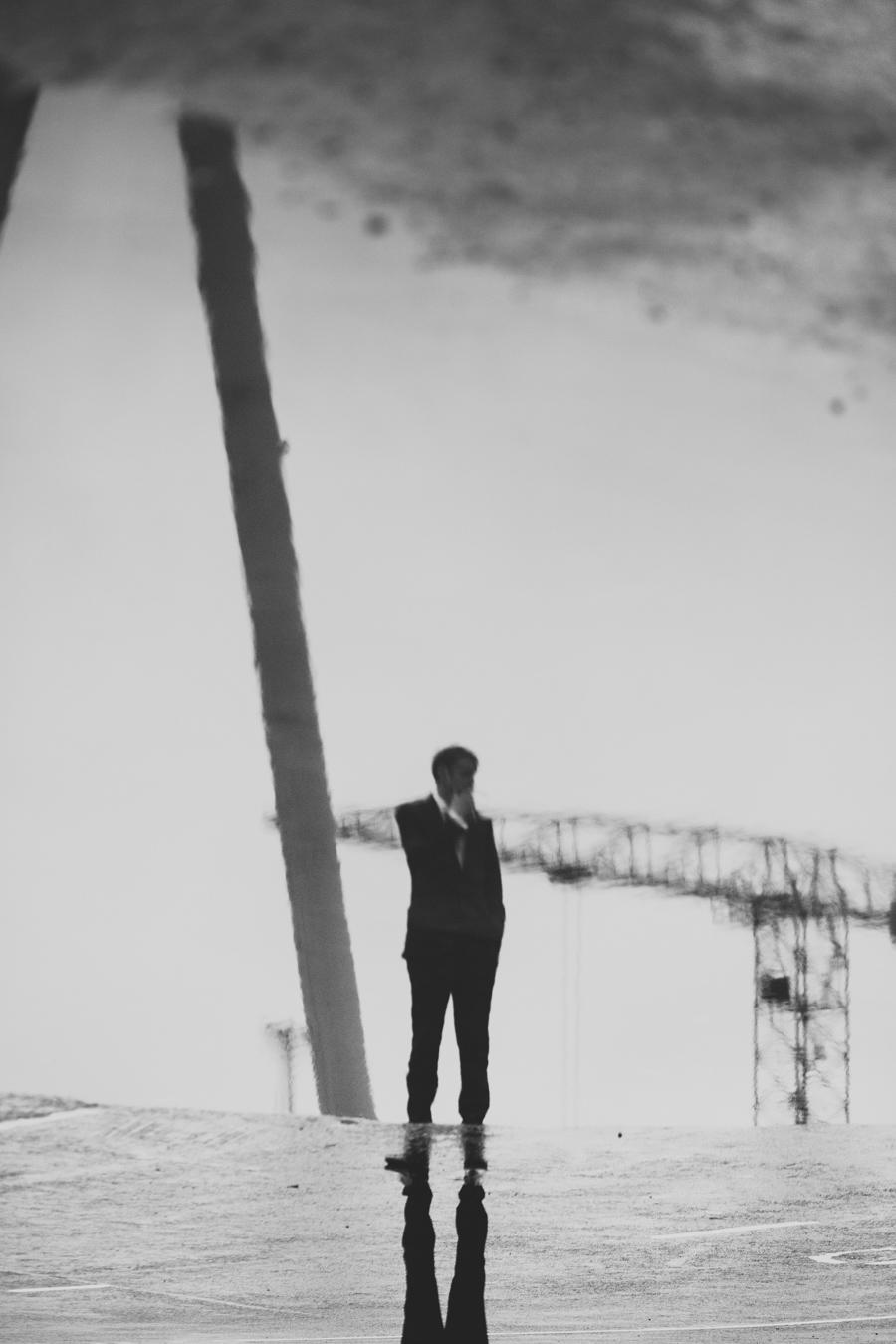 Alternative Wedding Photographer Northern Ireland, groom smoking, Titanic Quarter, Belfast, Northern Ireland.