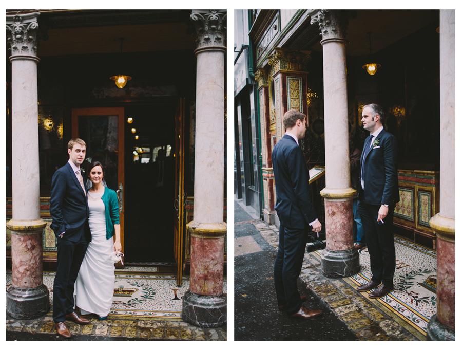 Wedding Photographer Northern Ireland, bride and groom, groom and best man smoking, Crown Bar, Great Victoria Street, Belfast