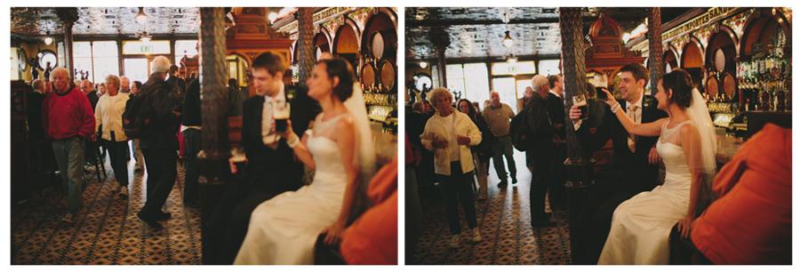 Alternative Wedding Photographer Northern Ireland, bride and groom in Irish Pub, Crown Bar, Belfast.