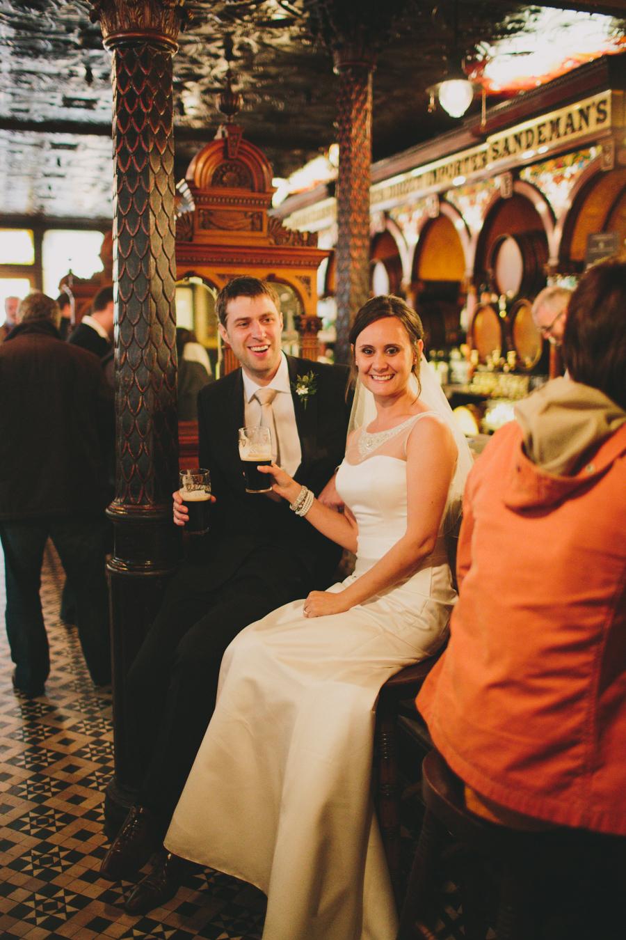 Wedding Photography Northern Ireland, bride and groom Irish Bar, Crown Bar, Belfast.