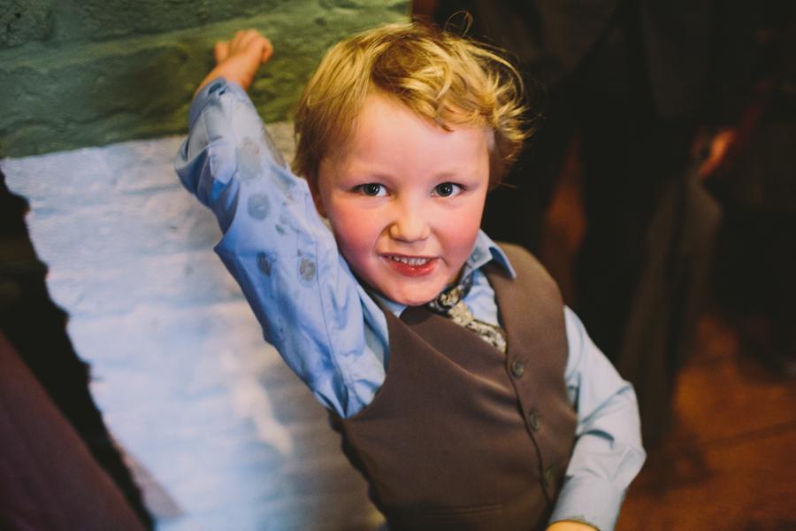 Wedding Photographer Northern Ireland, small boy dancing at wedding reception at Barking Dog, Belfast.