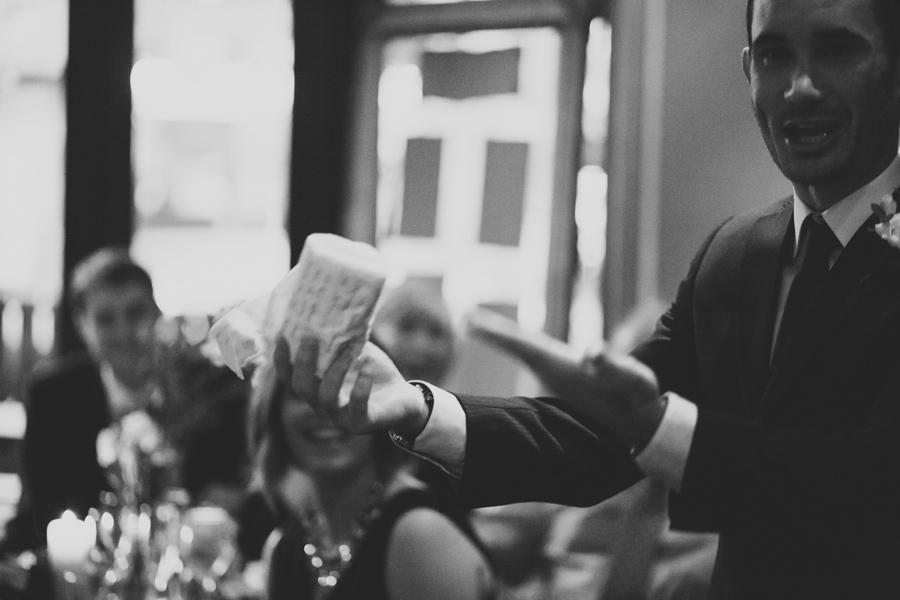 Alternative Wedding Photographer Northern Ireland, brother of the bride giving speech at wedding reception, Barking Dog Restaurant, Belfast.