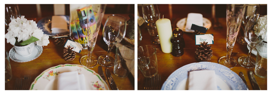 Wedding Photography Northern Ireland, Natural and vintage table setting at the Barking Dog, Belfast, Northern Ireland.