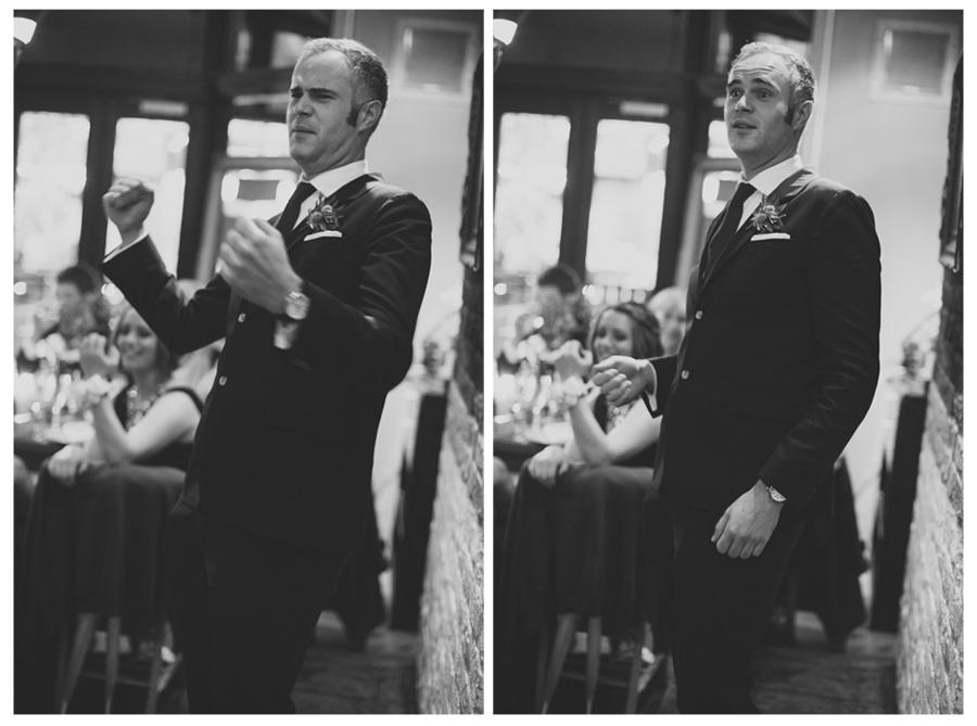 Alternative Wedding Photographer Northern Ireland, best man fist pump during wedding speech, Barking Dog, Belfast.