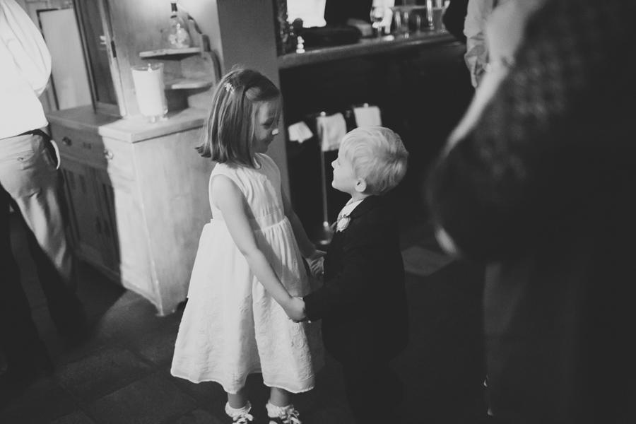 Wedding Photographer Northern Ireland, flower girl and page boy dance at wedding reception, Barking Dog Restaurant, Belfast.