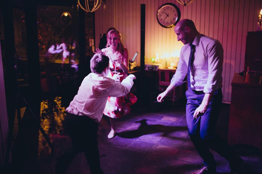 Wedding Photographer Northern Ireland, wedding guests dancing, Barking Dog Restaurant, Belfast.