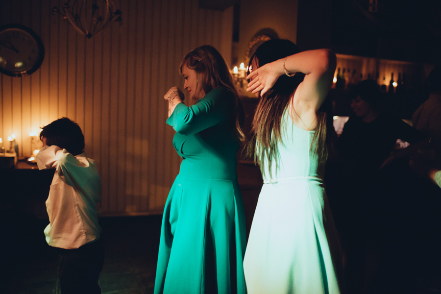Wedding Photographer Northern Ireland, wedding guests dancing, The Barking Dog Restaurant, Belfast, Ireland.