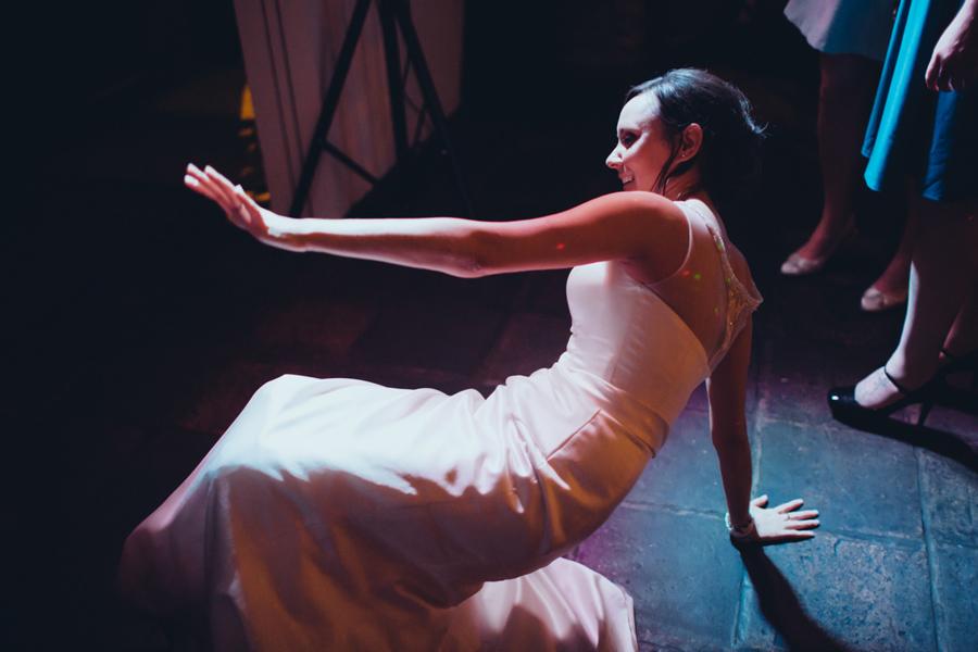Wedding Photography Northern Ireland, Bride breaking dancing, barking dog, Belfast, Northern Ireland.