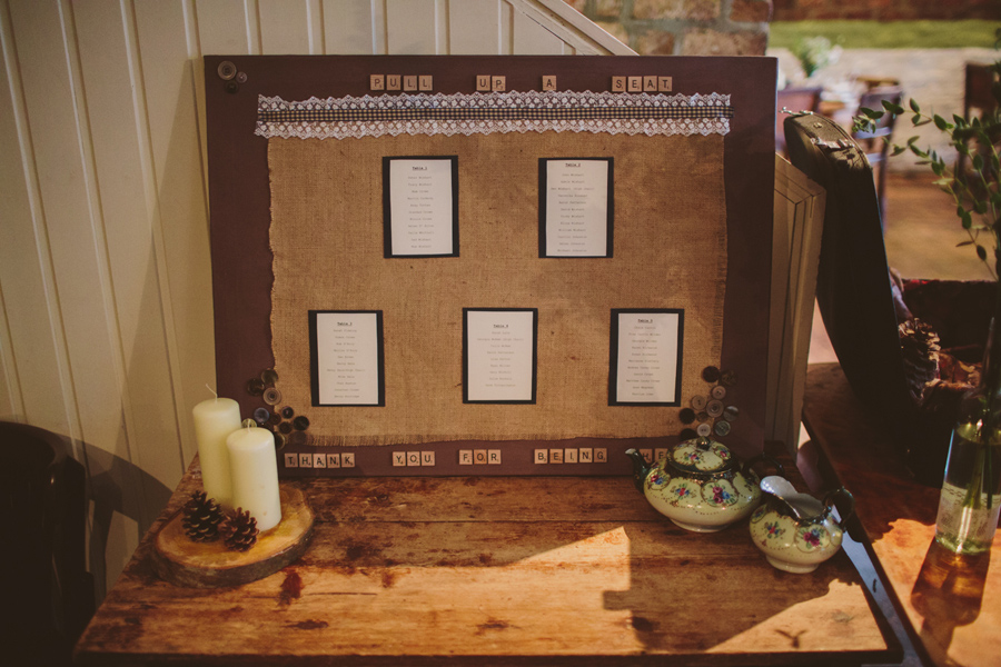 Wedding Photography Northern Ireland, Hand made seating plan at the Barking Dog, Belfast, Northern Ireland.