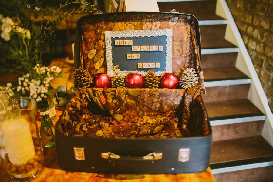 Alternative Wedding Photographer Northern Ireland, Vintage suitcase for wedding reception at the Barking Dog, Belfast.