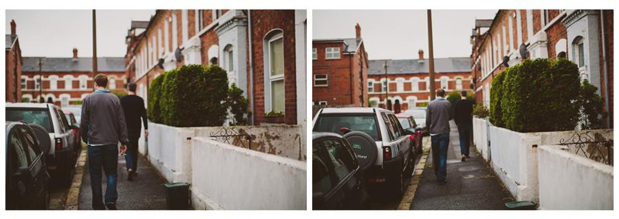 Wedding Photography Northern Ireland, groom walking Belfast Northern Ireland.
