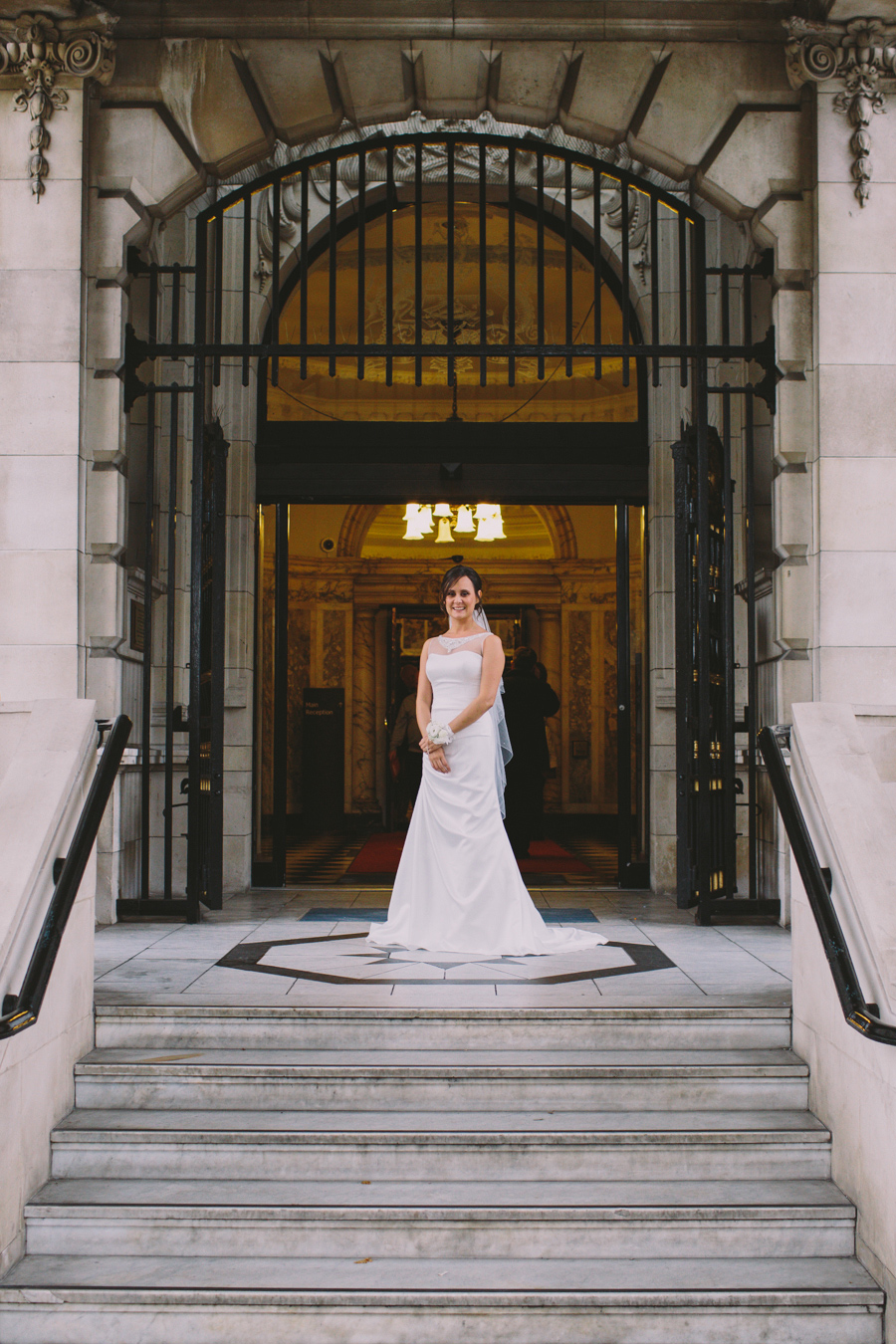 Wedding Photography Northern Ireland, bride at Belfast City Hall entrance, Belfast County Antrim, Ireland.