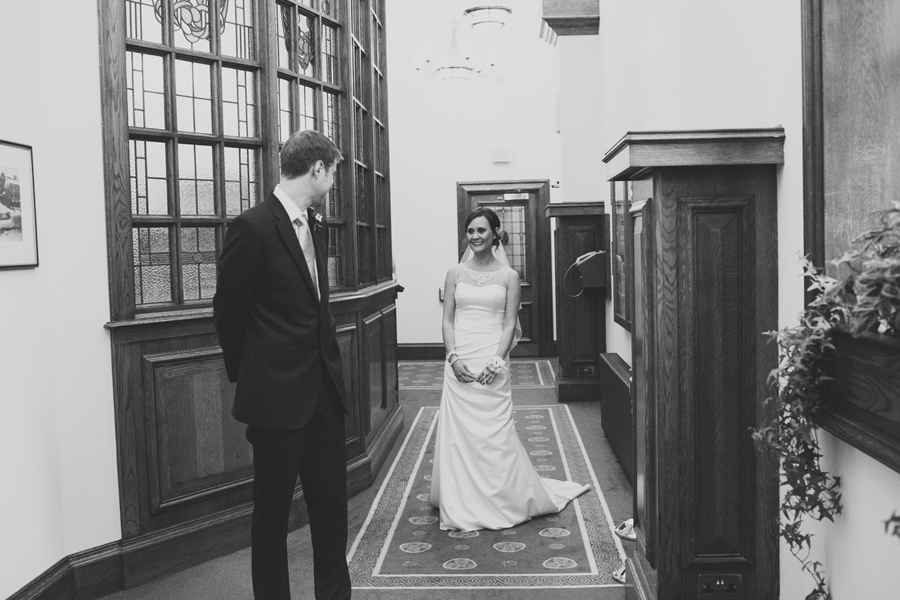 Alternative Wedding Photographer Northern Ireland, bride and groom first look at City Hall, Belfast , Northern Ireland.