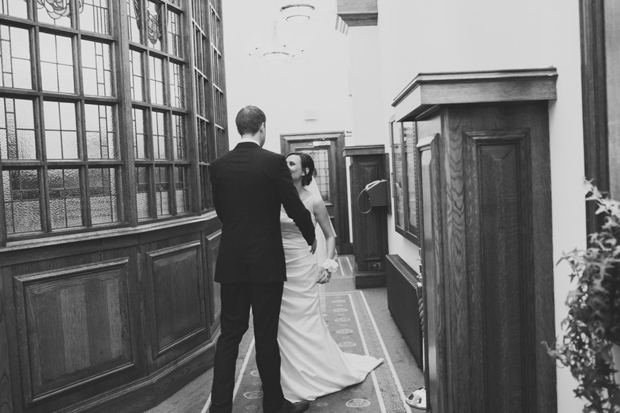 Alternative Wedding Photographer Northern Ireland, groom and bride first look at City Hall, Belfast.
