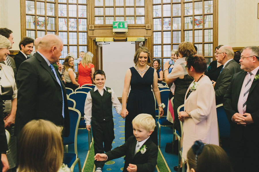 Wedding Photography Northern Ireland, bridesmaid with page boy, Belfast City Hall.