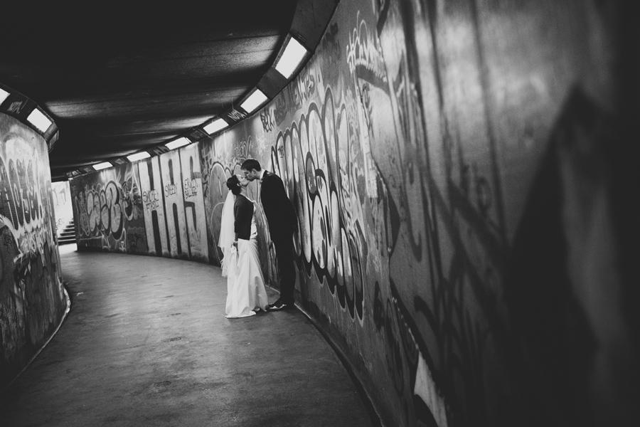Wedding Photographer Northern Ireland, bride and groom kiss, Belfast