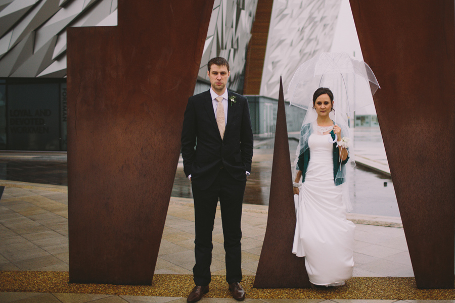 Wedding Photography Northern Ireland, bride and groom, Titanic Museum, Belfast, Ireland.