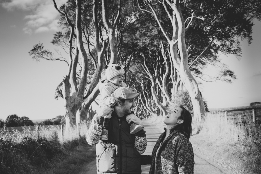 Family Photography Northern Ireland, happy mother, father and baby photoshoot at Dark Hedges, Armoy, County Antrim,