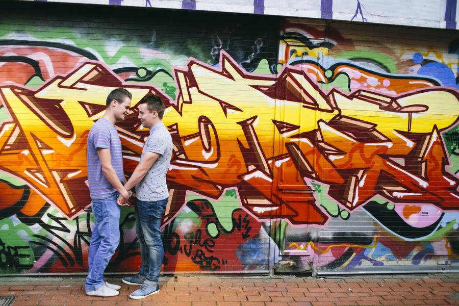 Gay Wedding Photographer Northern Ireland, same sex engagement photoshoot, Lower Garfield Street, Belfast.