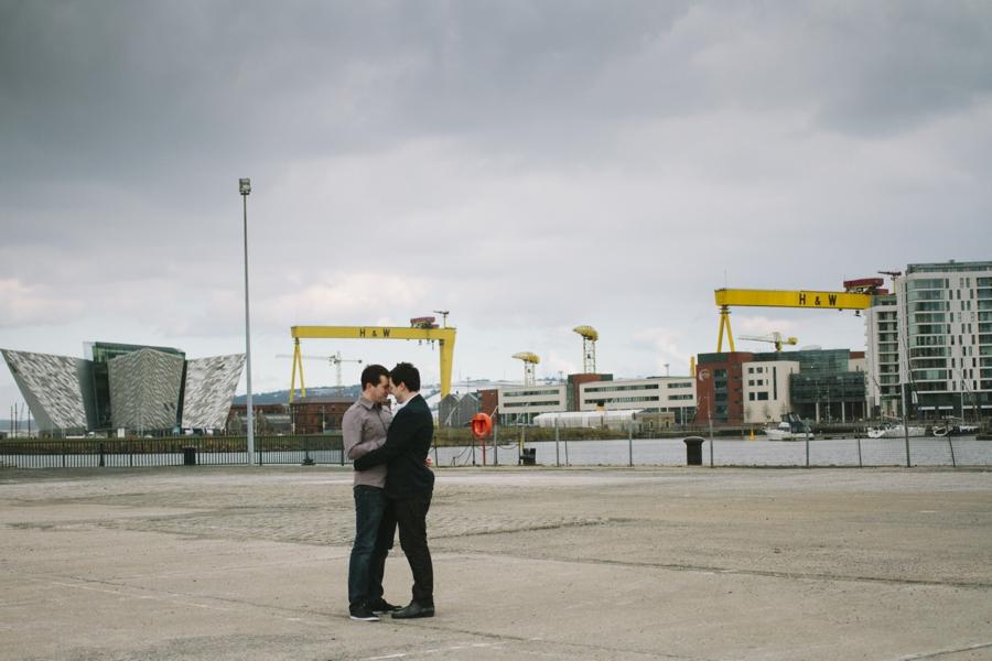 Gay Wedding Photography Northern Ireland, gay couple at Claredon Docks, Titanic Quarter, Belfast.