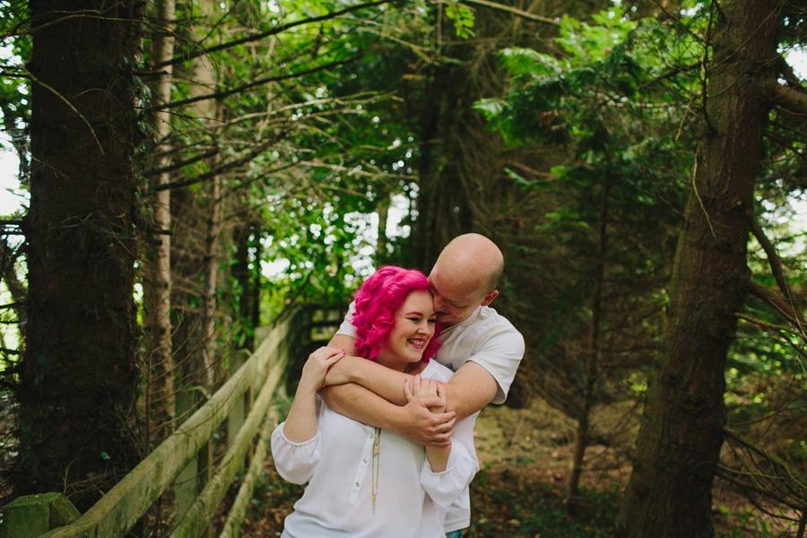 Wedding Photographer Northern Ireland, alternative couple photoshoot, forest, Ballymoney.