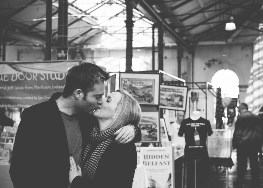 Wedding Photography Northern Ireland, engagement photoshoot at Saint Georges Market, Belfast.