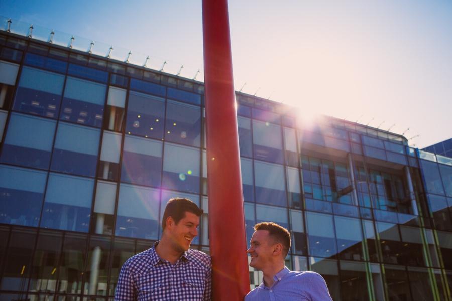 Gay Wedding Photographer Northern Ireland, Irish gay couple smiling on engagement photoshoot, Dublin, Ireland.