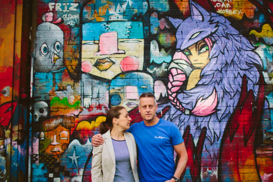 Wedding Photographer Northern Ireland, Peter Love from Love Fitness, couples photoshoot at colourful graffiti, Cathedral Quarter, Belfast