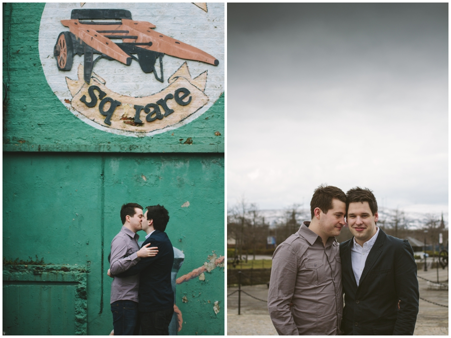Gay Wedding Photographer Northern Ireland, gay couple kiss at Clarendon Docks, Belfast.