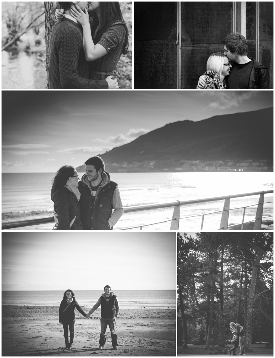 Wedding Photography Northern Ireland, cute collage of kisses in black and white, engagement photoshoots Northern Ireland.