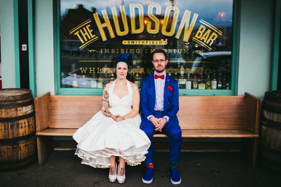 Wedding Photography Northern Ireland, bride and groom outside Hudson Bar Belfast.