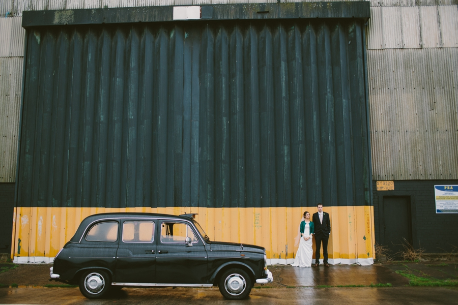 Wedding Photography Northern Ireland, bride and groom with Black Taxi, Titanic Quarter, Belfast.