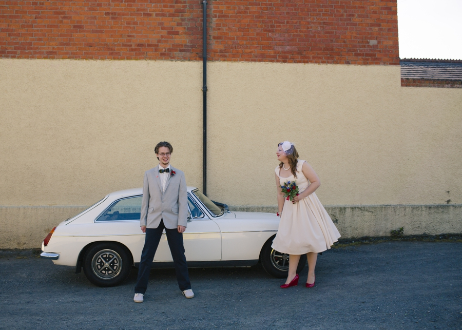 Wedding Photography Northern Ireland, bride and groom with vintage car, Whitehead, County Antrim