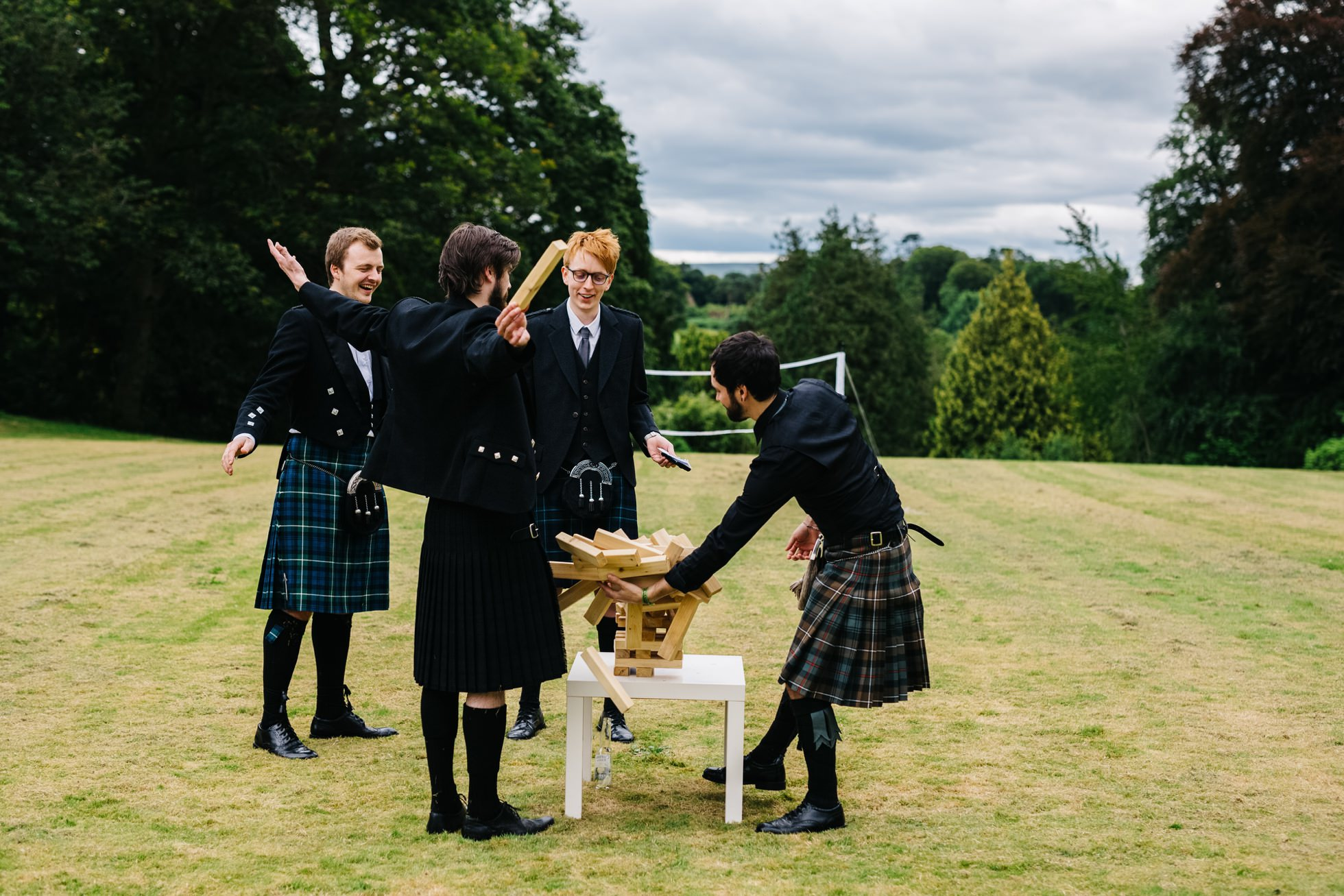 wedding photographer northern ireland, jenga and kilts