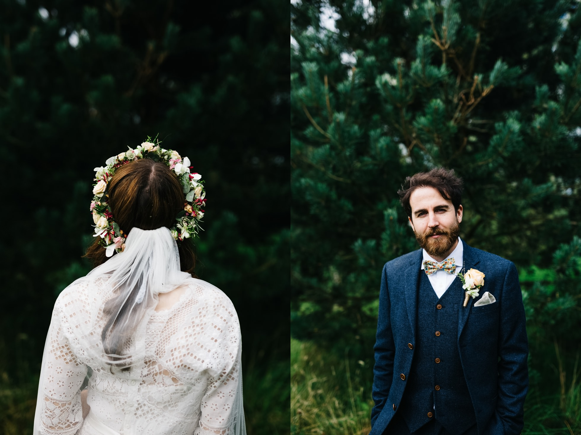 wedding photographer northern ireland, flower crown and bow tie