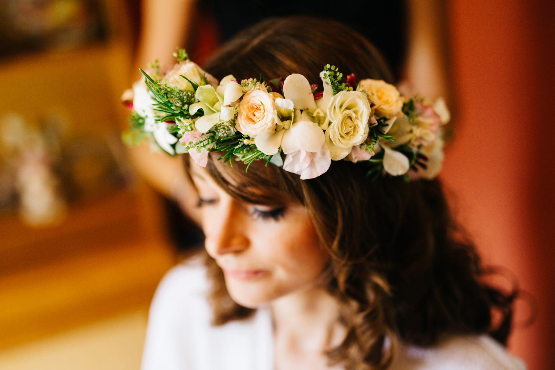 wedding photographer northern ireland, flower crown