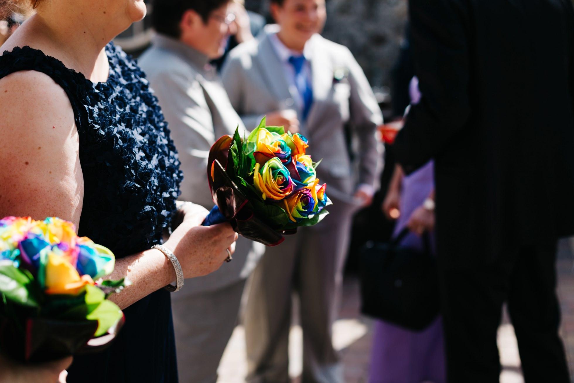 same sex wedding photography northern ireland, rainbow wedding bouquet