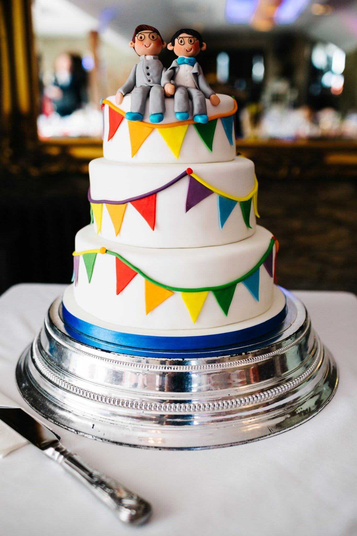 same sex wedding photography northern ireland, rainbow cake