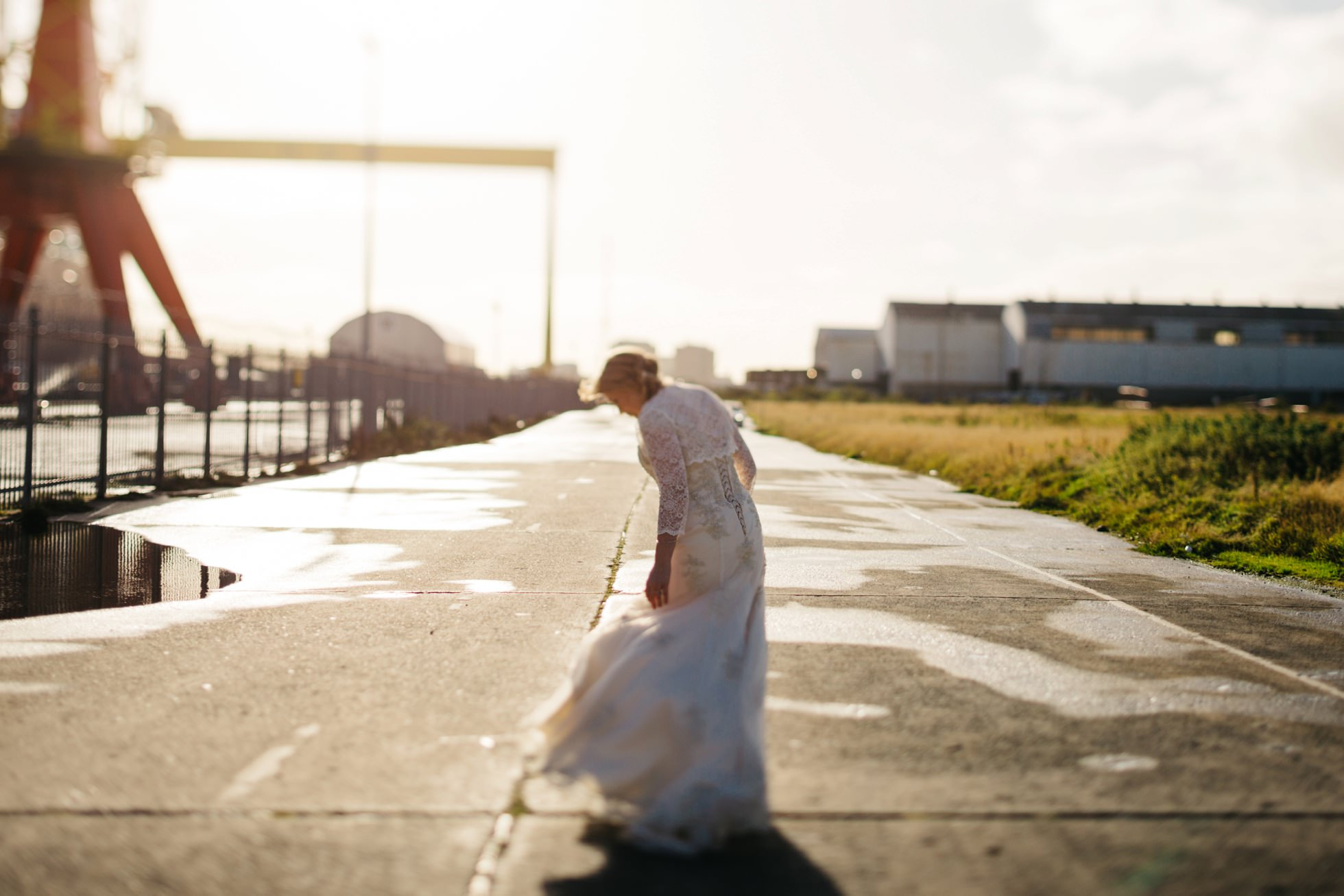 portrait of a bride at titanic quarter belfast wedding photography northern ireland
