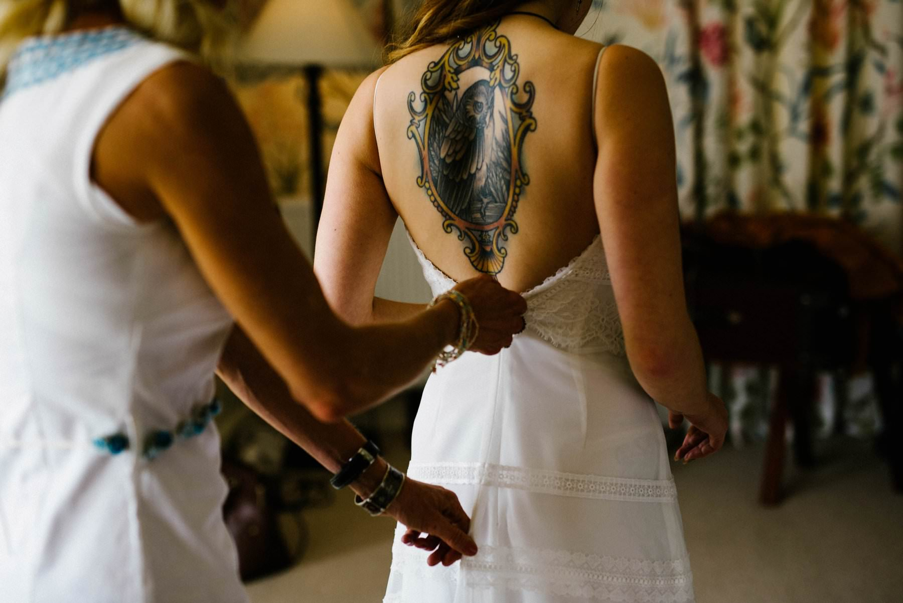 tattoo bride getting ready for wedding photography ireland