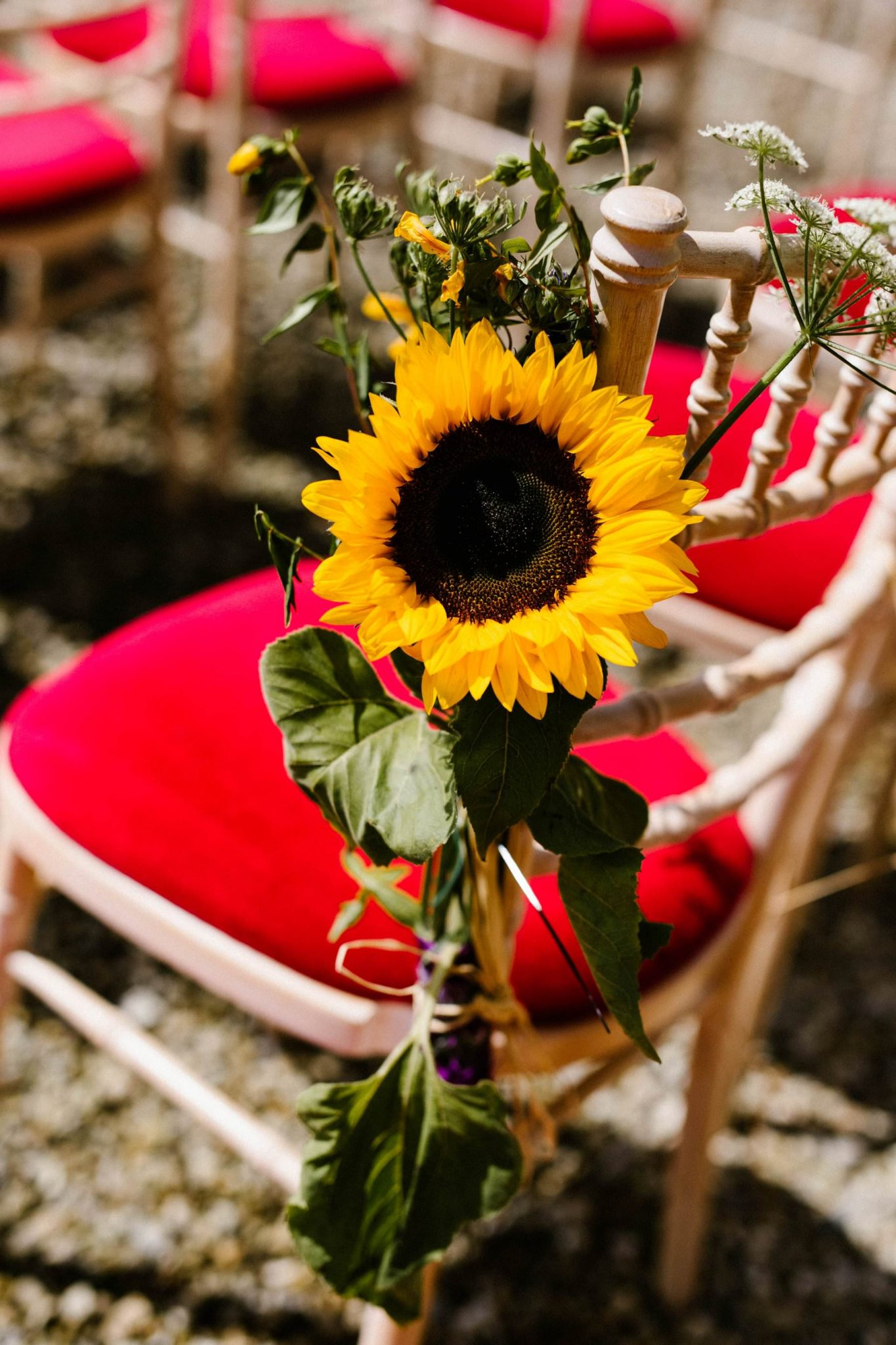 sunflower details for outdoor ceremony wedding photography ireland
